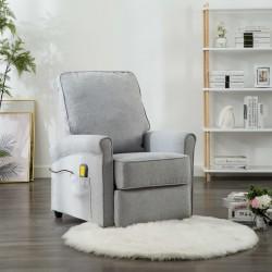 stradeXL Rozkładany fotel masujący, jasnoszary, tkanina