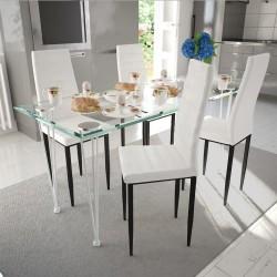 Zestaw jadalniany, krzesła 4 szt. + 1 szklany stół, biały
