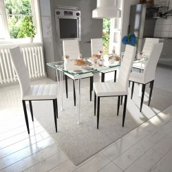 Zestaw jadalniany, krzesła 6 szt. + 1 szklany stół, biały