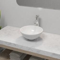 stradeXL Umywalka z baterią mieszającą, ceramiczna, okrągła, biała