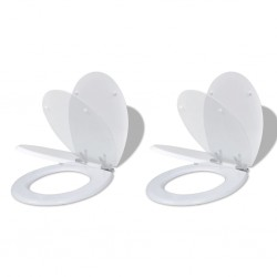 stradeXL Toilet Seats with Soft Close Lids 2 pcs MDF White
