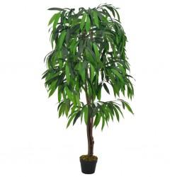 stradeXL Sztuczne drzewko mango z doniczką, zielony, 140 cm
