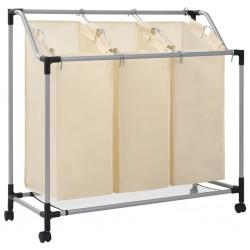 stradeXL Laundry Sorter with 3 Bags Cream Steel