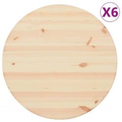stradeXL Blaty stołu, naturalne drewno, 6 szt., okrągłe, 25 mm, 60 cm
