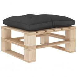 stradeXL Ogrodowy stołek z palet z czarną poduszką, drewniany