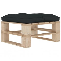 stradeXL Ogrodowy stołek z palet z antracytową poduszką, drewniany
