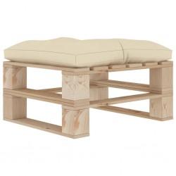 stradeXL Ogrodowy stołek z palet z kremową poduszką, drewniany