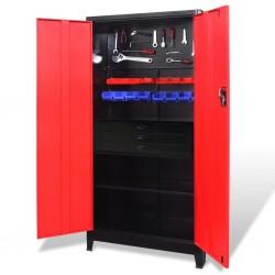 stradeXL Szafa narzędziowa, stal, 90x40x180 cm, czarno-czerwona
