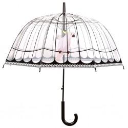 Esschert Design Parasol z nadrukiem ptasiej klatki, przezroczysty