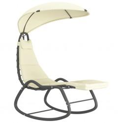 stradeXL Ogrodowe krzesło bujane, kremowe, 160x80x195 cm, tkanina