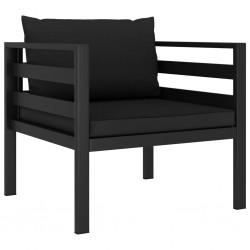 stradeXL Fotel z poduszkami, aluminium, antracytowy