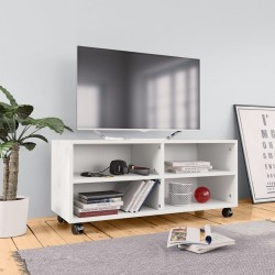 stradeXL Szafka pod TV z kółkami, biała, 90x35x35 cm, płyta wiórowa