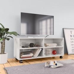 stradeXL Szafka pod TV z kółkami, wysoki połysk, biała, 90x35x35 cm