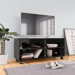 stradeXL Szafka pod TV z kółkami, wysoki połysk, czarna, 90x35x35 cm