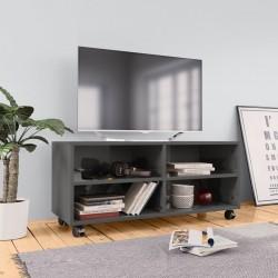 stradeXL Szafka pod TV z kółkami, wysoki połysk, szara, 90x35x35 cm