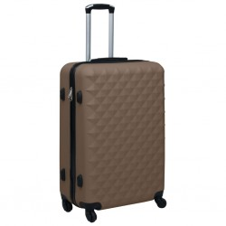 stradeXL Twarda walizka na kółkach, brązowa, ABS