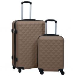 stradeXL Zestaw twardych walizek na kółkach, 2 szt., brązowy, ABS
