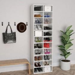 stradeXL Szafka na buty, wysoki połysk, biała, 54x34x183 cm