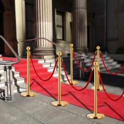 stradeXL 3 Piece VIP Queue Barrier Set Stainless Steel Gold