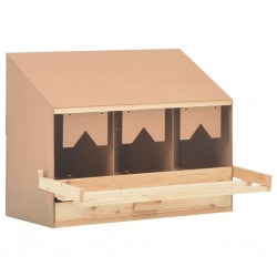 stradeXL Chicken Laying Nest 3 Compartments 72x33x54 cm Solid Pine Wood