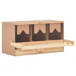 stradeXL Chicken Laying Nest 3 Compartments 72x33x38 cm Solid Pine Wood