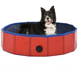 stradeXL Składany basen dla psa, czerwony, 80 x 20 cm, PVC