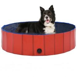 stradeXL Składany basen dla psa, czerwony, 120 x 30 cm, PVC