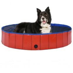 stradeXL Składany basen dla psa, czerwony, 160 x 30 cm, PVC