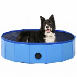 stradeXL Składany basen dla psa, niebieski, 80 x 20 cm, PVC