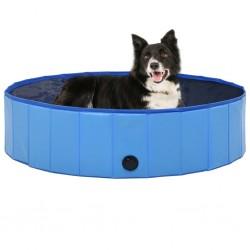 stradeXL Składany basen dla psa, niebieski, 120 x 30 cm, PVC