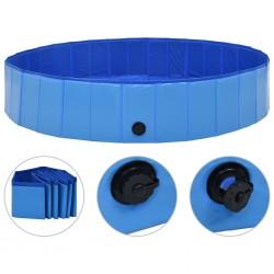 stradeXL Składany basen dla psa, niebieski, 160 x 30 cm, PVC