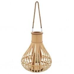 stradeXL Wiszący lampion na świece, bambusowy, naturalny