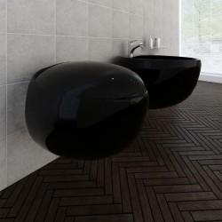 stradeXL Toaleta wisząca z bidetem, czarna, ceramiczna