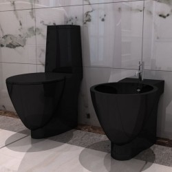stradeXL Toaleta ceramiczna z bidetem, czarna