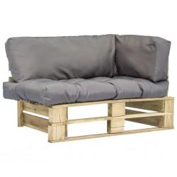 stradeXL Sofa ogrodowa z palet z szarymi poduszkami, sosnowe drewno