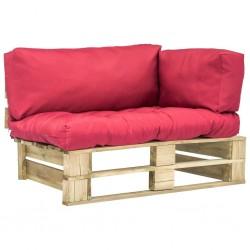 stradeXL Sofa ogrodowa z palet z czerwonymi poduszkami, drewno
