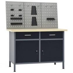 stradeXL Stół roboczy z trzema panelami ściennymi