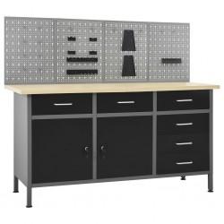 stradeXL Stół roboczy z 4 panelami ściennymi