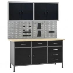 stradeXL Stół roboczy z 4 panelami ściennymi i 2 szafkami