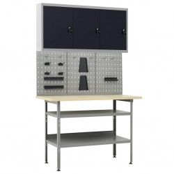stradeXL Stolik roboczy z trzema panelami ściennymi i szafką
