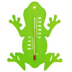 Nature Zewnętrzny termometr ogrodowy, w kształcie żaby, zielony
