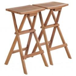 stradeXL Składane stołki barowe, 2 szt., lite drewno tekowe