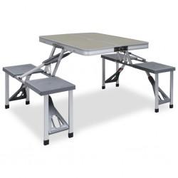 stradeXL Składany stolik turystyczny z 4 siedziskami, stal, aluminium