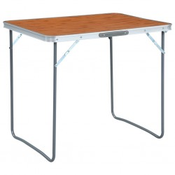 stradeXL Składany stolik turystyczny z metalową ramą, 80x60 cm