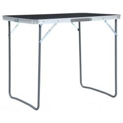 stradeXL Składany stolik turystyczny z metalową ramą, 80x60 cm, szary