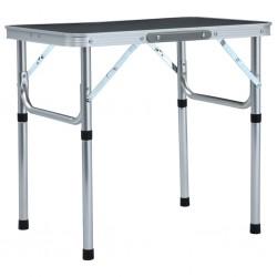 stradeXL Składany stolik turystyczny, szary, aluminiowy, 60x45 cm