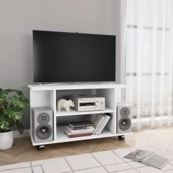 stradeXL Szafka pod TV z kółkami, biała, 80x40x40 cm, płyta wiórowa