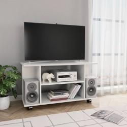 stradeXL Szafka pod TV z kółkami, wysoki połysk, biała, 80x40x40 cm
