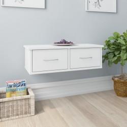 stradeXL Półka ścienna z szufladami, biała, wysoki połysk, 60x26x18,5 cm
