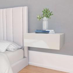 stradeXL Wisząca szafka nocna, biała, wysoki połysk, 40x30x15 cm